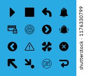 16 warning icons with down...   Shutterstock .eps vector #1176330799