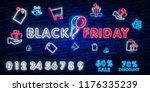 black friday sale neon sign ... | Shutterstock .eps vector #1176335239