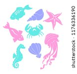 contours of marine inhabitants. | Shutterstock .eps vector #1176336190