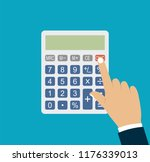 calculator with hand. vector... | Shutterstock .eps vector #1176339013