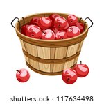 Wooden Basket With Red Apples....