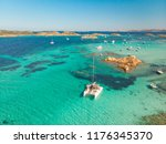 drone aerial view of catamaran... | Shutterstock . vector #1176345370