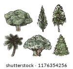 vector set of hand drawn tree... | Shutterstock .eps vector #1176354256