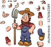 cartoon farmer with different... | Shutterstock .eps vector #1176362389