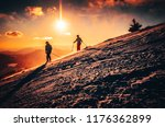 couple ski together in...   Shutterstock . vector #1176362899