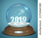 christmas snow globe with 2019... | Shutterstock .eps vector #1176364180