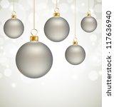 christmas balls and white snow... | Shutterstock . vector #117636940