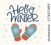 hello winter card | Shutterstock .eps vector #1176371893