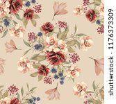 seamless pattern with flowers... | Shutterstock . vector #1176373309