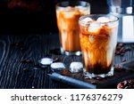 coffee with ice and milk  brown ... | Shutterstock . vector #1176376279