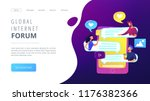 tablet with users communicating ... | Shutterstock .eps vector #1176382366