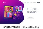 tablet with bookshelves and... | Shutterstock .eps vector #1176382519