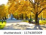 colorful city park scene in the ... | Shutterstock . vector #1176385309