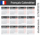 french calendar for 2019.... | Shutterstock .eps vector #1176393370