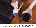 a woman paints by hand the... | Shutterstock . vector #1176394096