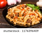 pasta  spirals pasta  ... | Shutterstock . vector #1176396409