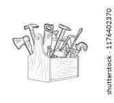 vector hand drawn woodwork... | Shutterstock .eps vector #1176402370
