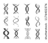 dna spiral icons. helix human... | Shutterstock .eps vector #1176402376