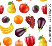 vector realistic fruits and... | Shutterstock .eps vector #1176402400