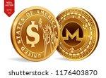monero. dollar coin. 3d... | Shutterstock .eps vector #1176403870