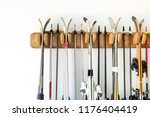 lot of ski hanged on customized ... | Shutterstock . vector #1176404419