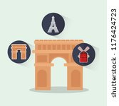 france culture card with arch... | Shutterstock .eps vector #1176424723