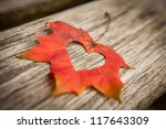 A Heart In An Autumn Leaf On A...
