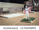 football player with a white... | Shutterstock . vector #1176434890