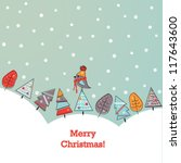 Christmas background with doodled trees and bird in scarf - stock vector