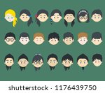many cartoon kids faces in a... | Shutterstock .eps vector #1176439750