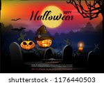 halloween background with the... | Shutterstock .eps vector #1176440503