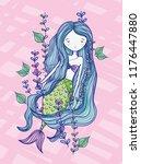 mermaid cute drawing | Shutterstock .eps vector #1176447880