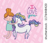 girl with unicorn cute cartoon | Shutterstock .eps vector #1176448420