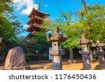 five storied pagoda of kaneiji... | Shutterstock . vector #1176450436