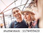 beautiful blond woman in hat... | Shutterstock . vector #1176455623