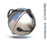 Silver Sleigh Bell 3d Render...