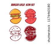 doodle burger logo icon symbol... | Shutterstock .eps vector #1176463180