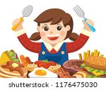a girl with spoon and fork... | Shutterstock .eps vector #1176475030