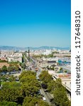 Panorama view of Barcelona - stock photo
