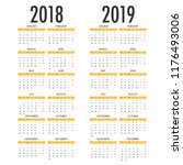 calendar for 2018 2019 on white ... | Shutterstock .eps vector #1176493006