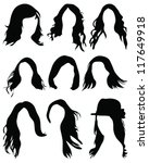 silhouettes of hair styling...   Shutterstock .eps vector #117649918