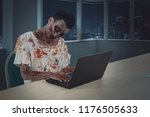 picture of male zombie working... | Shutterstock . vector #1176505633