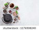 various tea and teapot. black ... | Shutterstock . vector #1176508240