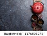 various tea and teapot. black ... | Shutterstock . vector #1176508276