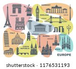collection of europe detailed... | Shutterstock .eps vector #1176531193