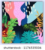 lovely tropical background with ... | Shutterstock .eps vector #1176535036