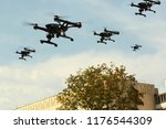 Swarm Of Quadcopters Drones In...