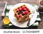 belgian waffles with... | Shutterstock . vector #1176548899