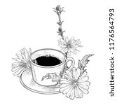 chicory flowers and coffee cup... | Shutterstock .eps vector #1176564793