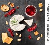 an overhead photo of camembert... | Shutterstock . vector #1176568870